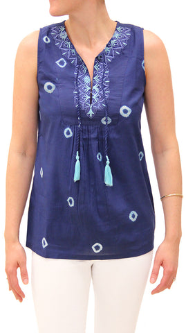 SHIBORI EMBROIDERED TASSEL TOP INDIGO - Rikshaw Design - 2