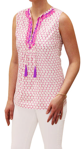 EMBROIDERED TASSEL POLKA DOT FUCHSIA - Rikshaw Design - 2