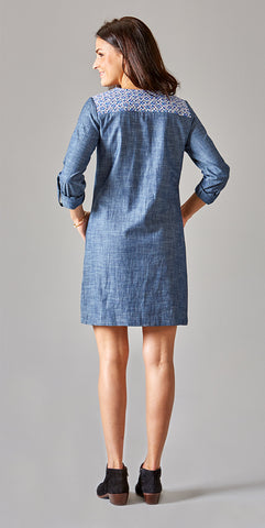 QUILTED YOKE DRESS CHAMBRAY - Rikshaw Design - 4