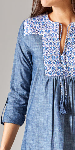 QUILTED YOKE DRESS CHAMBRAY - Rikshaw Design - 3