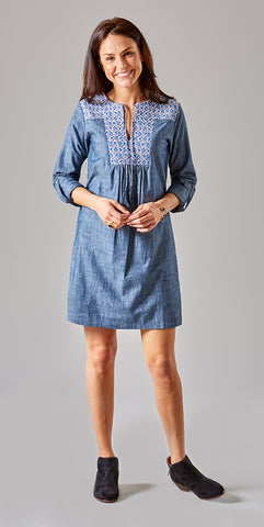 QUILTED YOKE DRESS CHAMBRAY - Rikshaw Design - 1