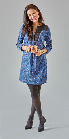 QUILTED YOKE DRESS INDIGO - Rikshaw Design - 4
