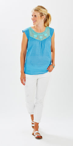 CROCHET TOP MINI BOOTI SKY BLUE - Rikshaw Design - 1