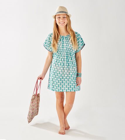 TEEN BOHO BEACH COVER-UP PINEAPPLE MINT - FINAL SALE - Rikshaw Design - 1