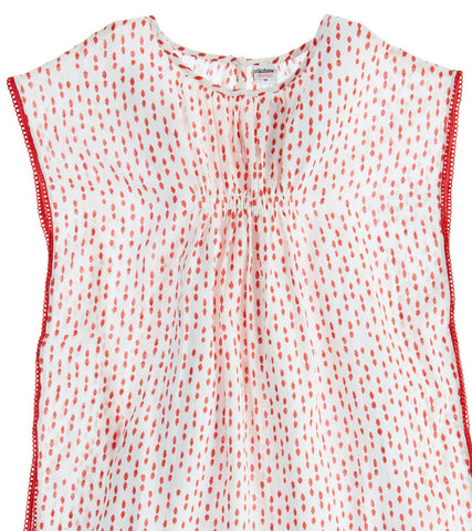 TEEN BOHO BEACH COVER-UP POLKA DOT NANTUCKET RED - Rikshaw Design - 3