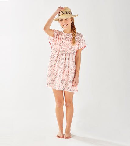 TEEN BOHO BEACH COVER-UP POLKA DOT NANTUCKET RED - Rikshaw Design - 1