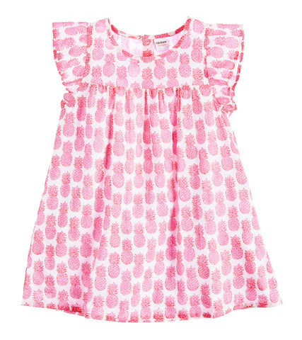 CAP SLEEVE DRESS PINEAPPLE PETUNIA PINK - Rikshaw Design - 2