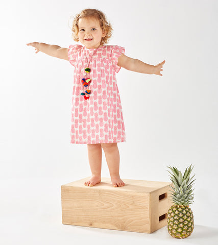 CAP SLEEVE DRESS PINEAPPLE PETUNIA PINK - Rikshaw Design - 1