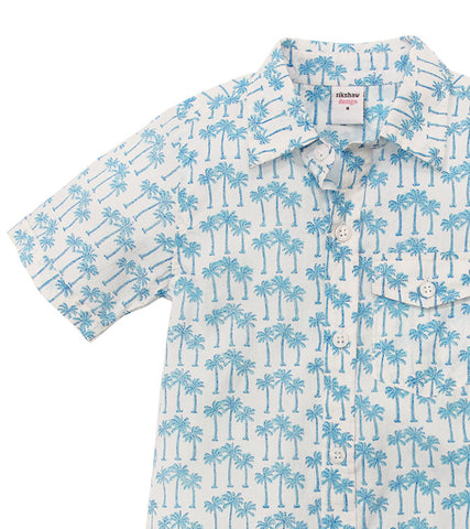 ALOHA BUTTON DOWN PALM TREE TURQUOISE - FINAL SALE - Rikshaw Design - 3