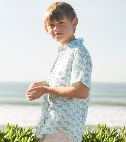ALOHA BUTTON DOWN PALM TREE TURQUOISE - FINAL SALE - Rikshaw Design - 1