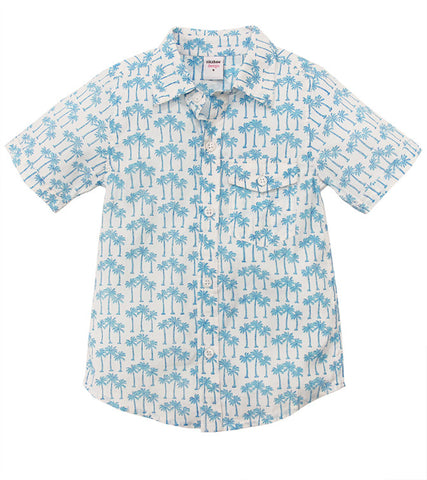 ALOHA BUTTON DOWN PALM TREE TURQUOISE - FINAL SALE - Rikshaw Design - 2