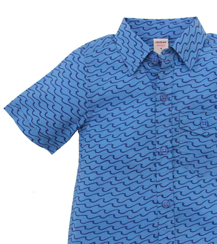 ALOHA BUTTON DOWN WAVES SEA BLUE - FINAL SALE - Rikshaw Design - 3