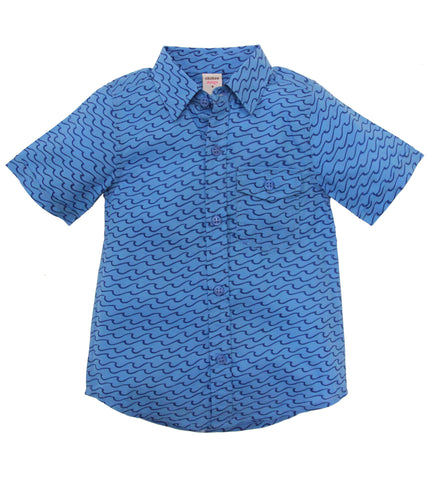 ALOHA BUTTON DOWN WAVES SEA BLUE - FINAL SALE - Rikshaw Design - 2