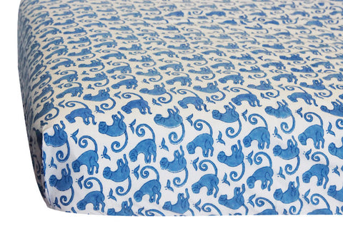 CRIB SHEET TAJ MONKEY BLUE