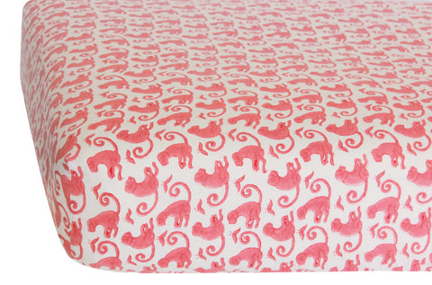 CRIB SHEET TAJ MONKEY PINK