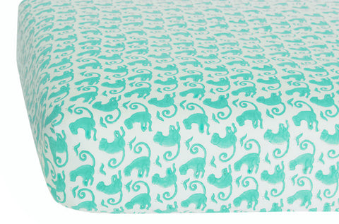 CRIB SHEET TAJ MONKEY TURQUOISE