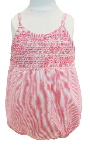 AVERY SMOCKED BUBBLE STRIPE CORAL