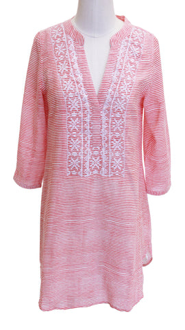 ALEXA EMBROIDERED COVER-UP STRIPE CORAL