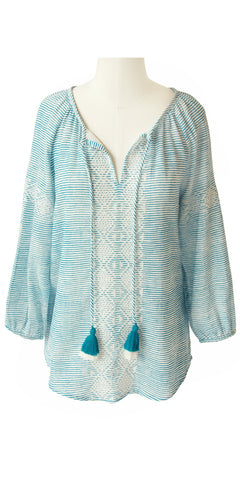 FRANCESCA EMBROIDERED TOP STRIPE STORMY