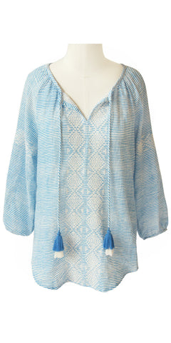 FRANCESCA EMBROIDERED TOP STRIPE PERIWINKLE