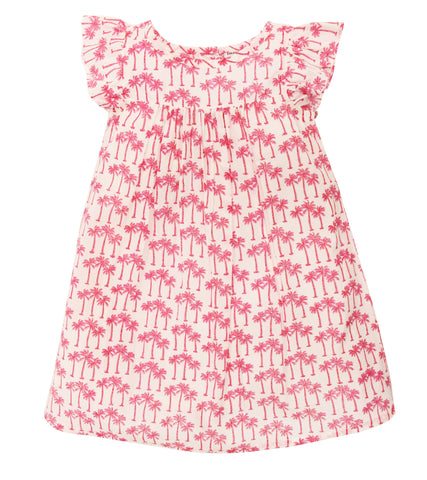 CAP SLEEVE DRESS PALM TREE FLAMINGO - Rikshaw Design - 2