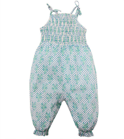 SMOCKED ROMPER LOBSTER MINERAL - Rikshaw Design