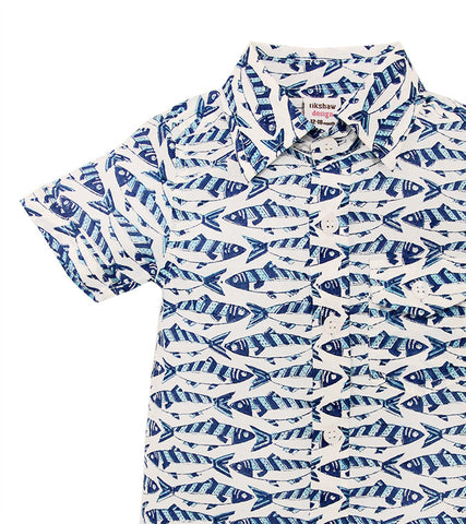 ALOHA BUTTON DOWN SARDINES SKY BLUE - FINAL SALE - Rikshaw Design - 4