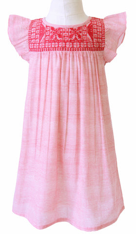 CHLOE EMBROIDERED DRESS STRIPE CORAL