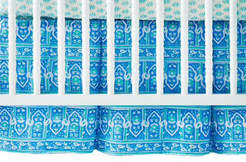 CRIB SKIRT PALACE TURQUOISE - Rikshaw Design - 1