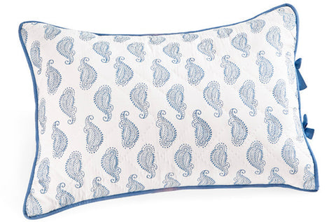 QUILTED STD SHAM TAJ BLUE - Rikshaw Design