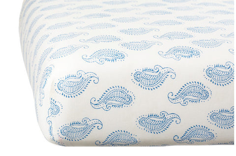 CRIB SHEET TAJ PAISLEY BLUE - Rikshaw Design