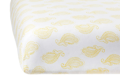 CRIB SHEET TAJ PAISLEY BUTTER - Rikshaw Design