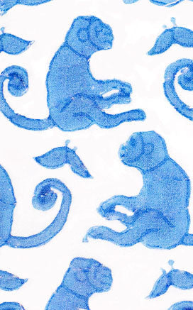 FABRIC BY THE YARD TAJ MONKEY BLUE - Rikshaw Design - 1