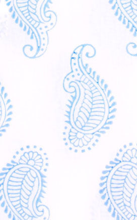 FABRIC BY THE YARD TAJ PAISLEY BLUE - Rikshaw Design - 1