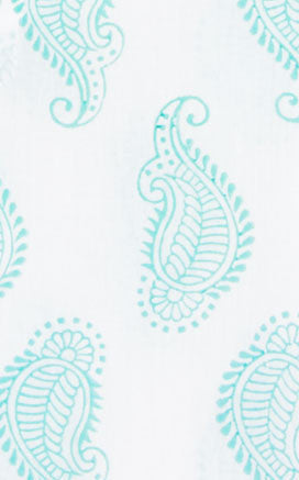 FABRIC BY THE YARD TAJ PAISLEY BLUE - Rikshaw Design - 2