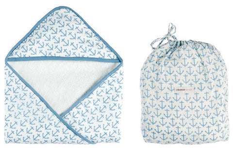 HOODED TOWEL ANCHOR SKY BLUE - Rikshaw Design - 1