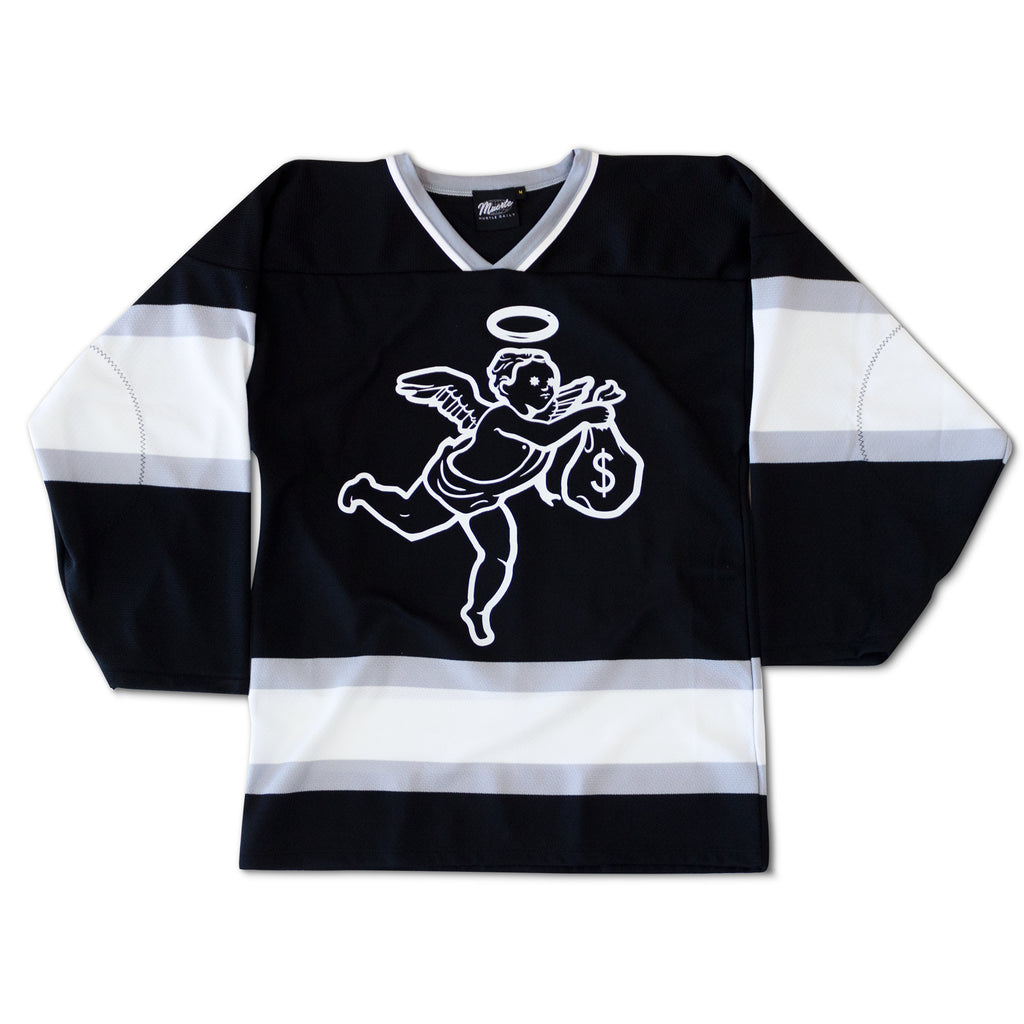 Get Money Angel Hockey Jersey - Black