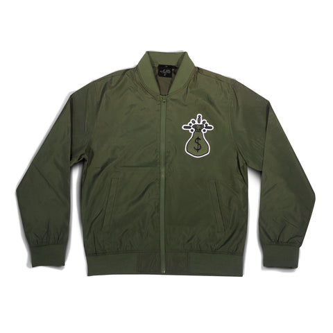 Money Bag Logo Chenille Bomber Jacket - Olive