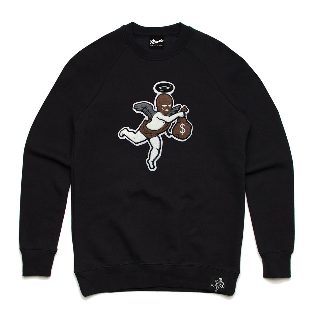 AJ1 DM SKI MASK ANGEL CHENILLE PATCH CREWNECK