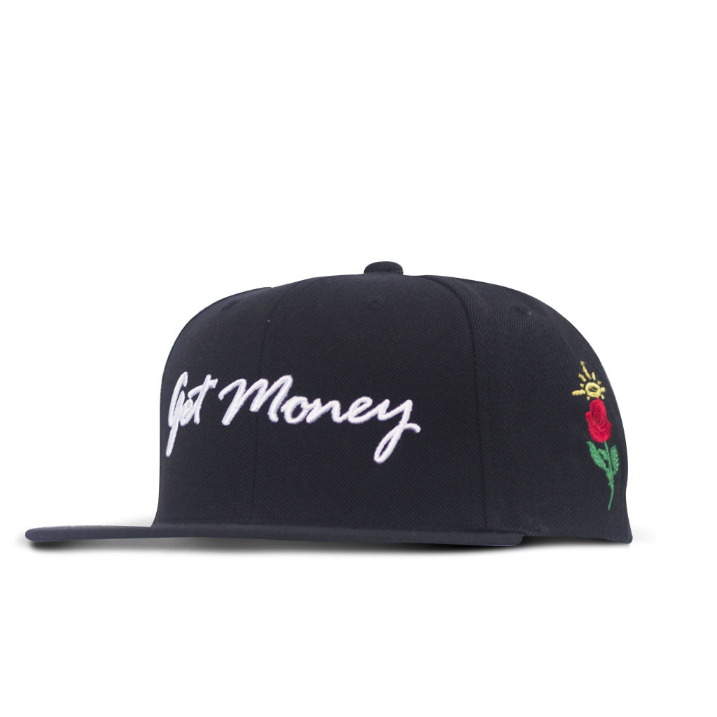 Get Money Rose Snapback - Black