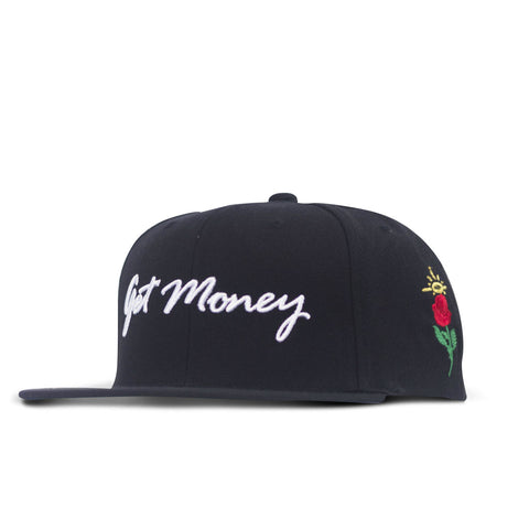 Get Money Rose Snapback Black