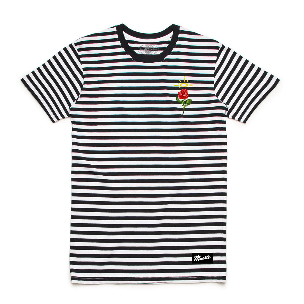 Embroidered Rose Stripe Tee black / white