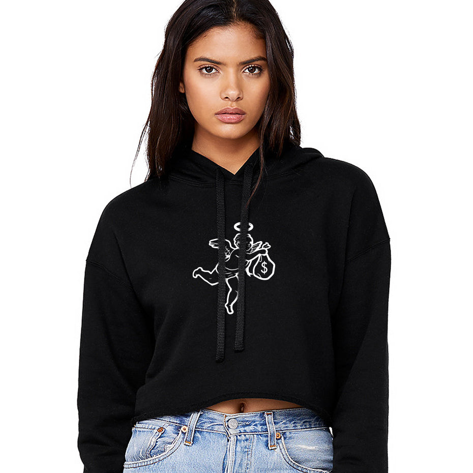 Get Money Angel Crop Top Hoodie