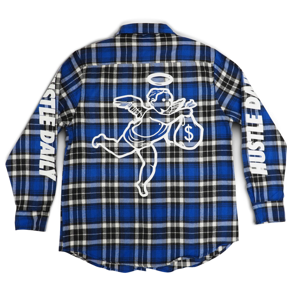 Hustle Daily Angel Flannel Jacket - Blue & Black