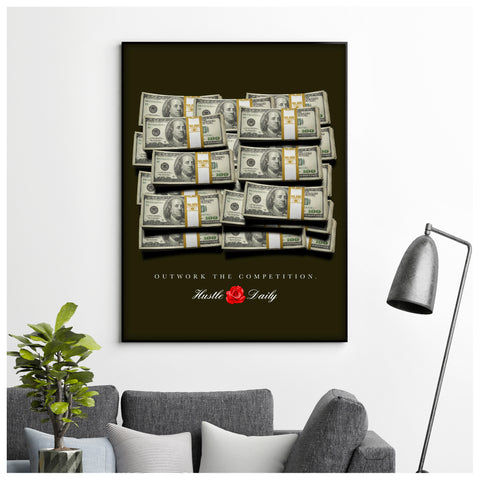 Cash Stacks Canvas Poster