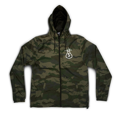 Camo Money Bag Logo  Zip Up Windbreaker