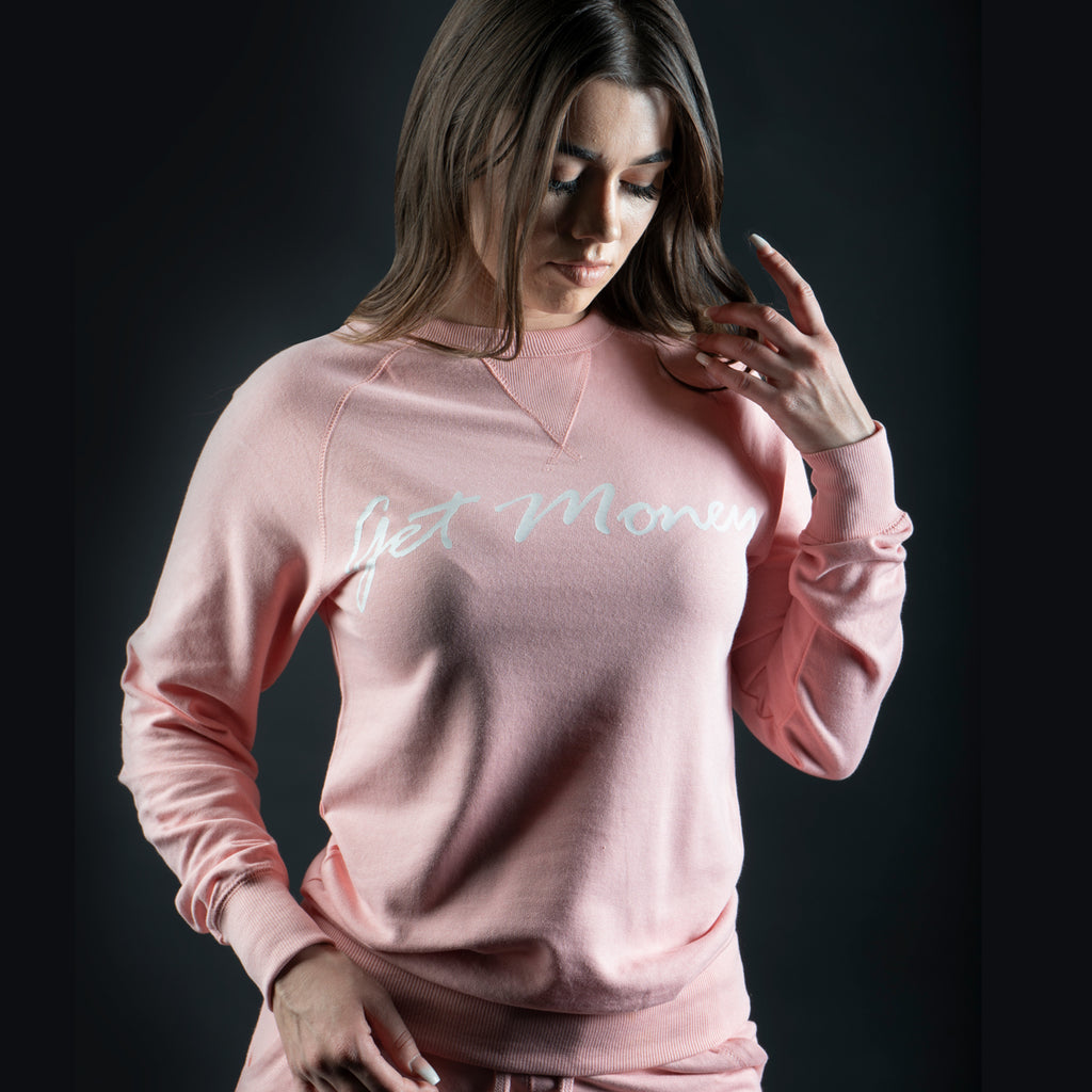 Get Money Script Crewneck - Pale Pink