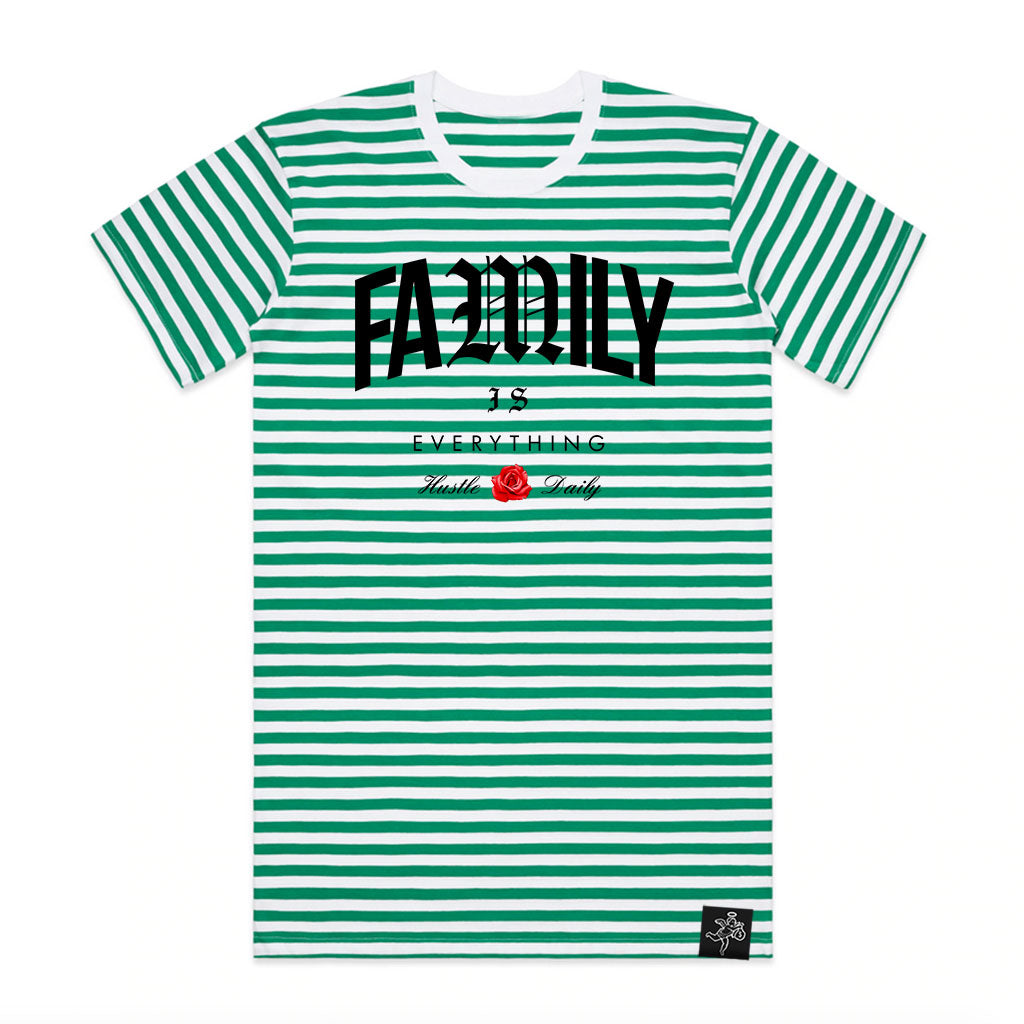 Family is Everything Stripe Tee Green/White