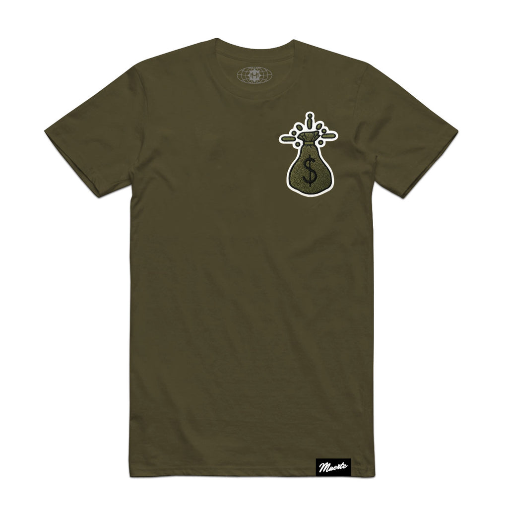 Money Bag Chenille Patch Tee -Olive