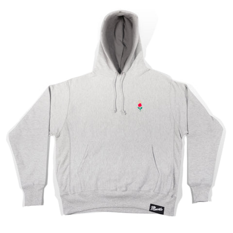 Halo Rose Embroidered Grey Hoodie